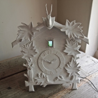 Cuckoo clock housing for video in progress